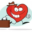 Happy Business Heart Character Carrying A Briefcase — Stock Photo #2620702