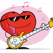 图库照片: Red Heart Playing A Guitar And Singing