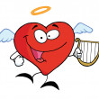 Red Heart Angel Flying With A Lyre — Stock Photo