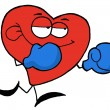 Boxing Red Heart Wearing Blue Gloves — Stock Photo