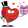 Gentleman Heart Holding A Single Rose And A Gift — Stock Photo