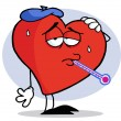 Flu Ridden Red Heart — Foto de Stock