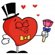 Gentleman Heart Holding Roses - Stock Photo