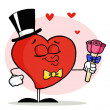 Gentleman Heart In A Hat And Bow Tie — Stock Photo