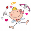 Royalty-Free Stock Photo: Stick Cupid with Bow and Arrow Flying