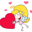 Cupid Girl Carrying A Red Heart - Stock Photo