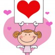 Stick Girl Cupid Holding Red Heart Sig — Stock Photo #2621457