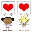 Stock Photo: Cute Stick Cupids Holding Red Heart Sign