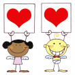 Cute Stick Cupids Holding Red Heart Sign - Stock Photo