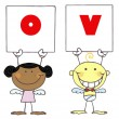 Cute Stick Cupids Holding LOVE Signs — Stock Photo #2621473
