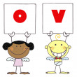 Cute Stick Cupids Holding LOVE Signs - Stock Photo