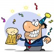 Stock Photo: Drunk New Years Guy Holding Beer