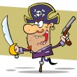Pirate Brandishing Sword and Gun — Stock Photo