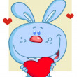 Sweet Blue Bunny Holding A Red Heart — Stock Photo