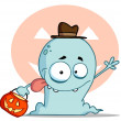 Stock Photo: Lucky Ghost Goes Trick Or Treating