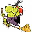 Happy Witch Rides Broom — Stock Photo