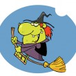Happy Witch Rides Broom In Night - Stock Photo