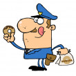 Happy Police Officer Eating Donut — Stock Photo