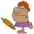 Mad Housewife Holding A Rolling Pin — Stock Photo