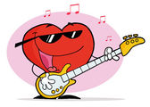 Red Heart Playing A Guitar And Singing — Stock Photo