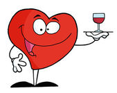 Red Heart Serving A Glass — Stock Photo