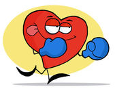 Boxing Red Heart Wearing Blue Gloves — Foto de Stock