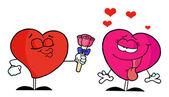 Coração masculina dando rosas para o coração feminino — Fotografia Stock