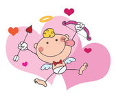 Stick Cupid with Bow — Stock Photo