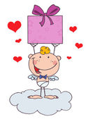 Cartoon Stick Cupid with Gift and hearts — Stock Photo