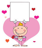 Cartoon Stick Cupid with Banner — Stock Photo