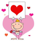 Cartoon Stick Cupid with Banner Heart — Stock Photo