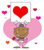 Cartoon Stick African American Cupid with Banner Heart — Stock Photo