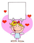 Stick Blond Girl Cupid — Stock Photo