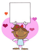 Hispanic Female Stick Cupid Holding A Blank Sign — Stock Photo