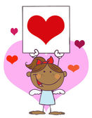 Hispanic Girl Cupid Holding A Red Heart Sign — Stock Photo