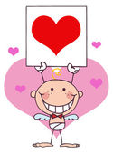 Cartoon Stick Cupid with Banner,Heart — Stock Photo