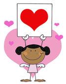 Cute Stick Black Girl Cupid Holding — Stock Photo