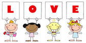 Cute Stick Cupids Holding LOVE Signs — Foto de Stock