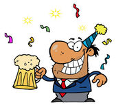 Drunk New Years Party Guy Holding Beer — Stock Photo