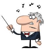 オーケストラの指揮者はバトンを保持します。 — ストック写真