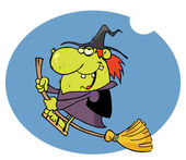 Happy Witch Rides Broom In Night — Stock Photo