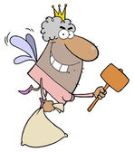 African American Tooth Fairy Flying With A Mallet And Bag — Stock Photo