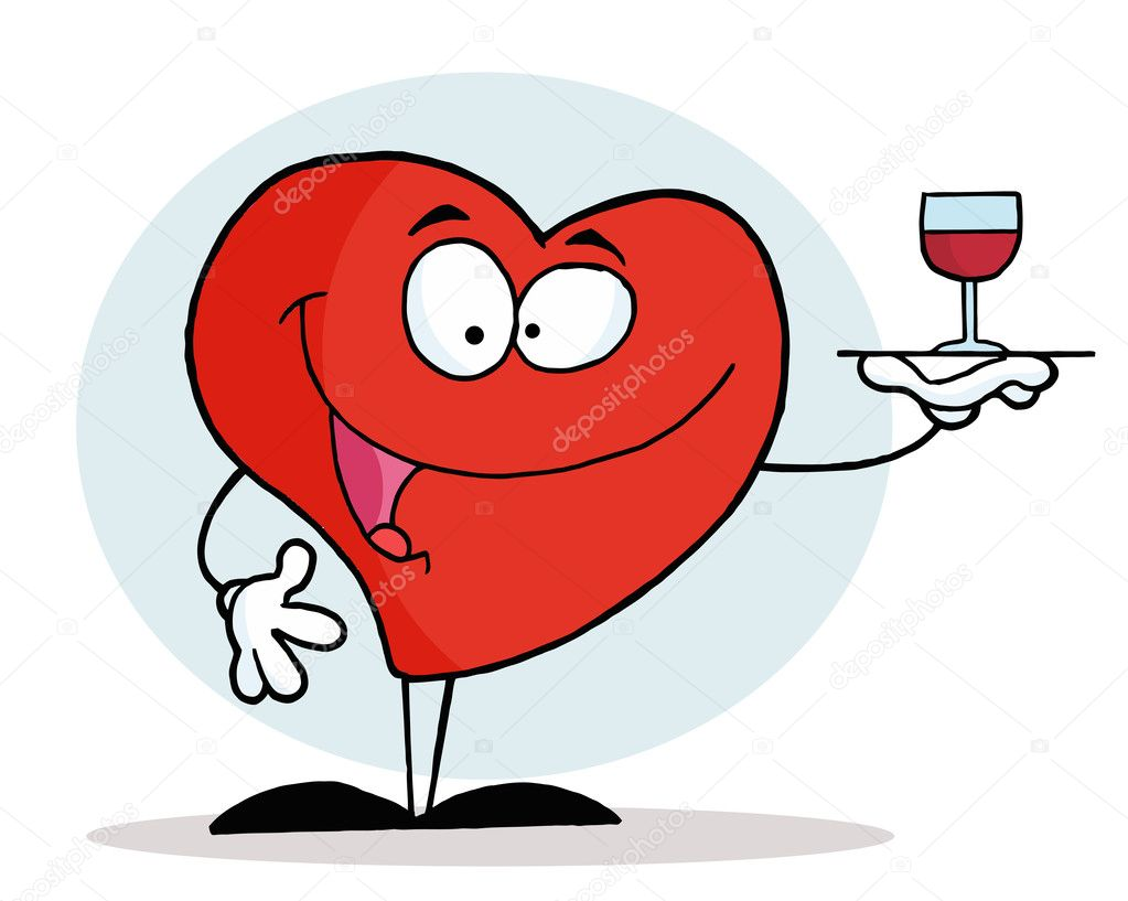 Red Heart Serving A Glass Of Red Wine — Stock Photo #2620750