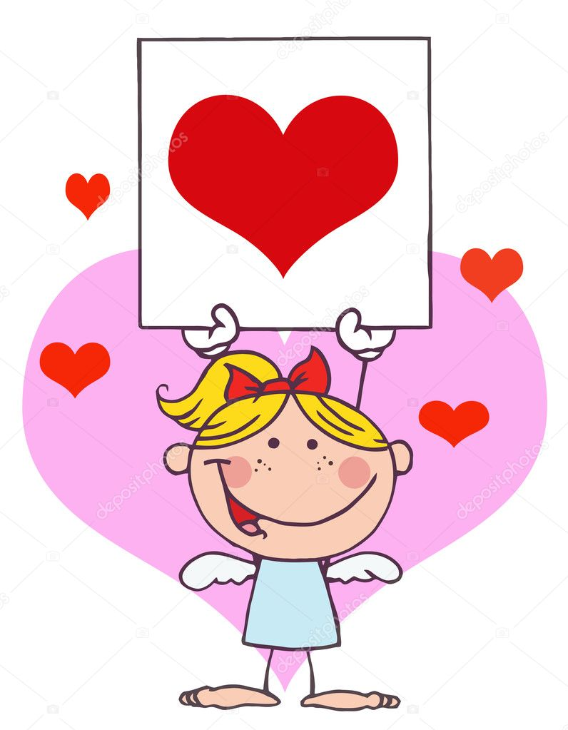 Cartoon Stick Cupid Girl with Banner Heart  Stock Photo #2621429