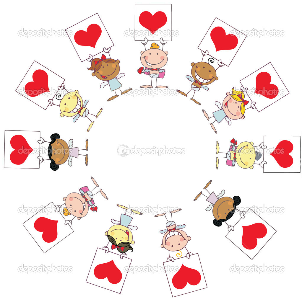 Cute Stick Cupids Holding Red Heart Signs In A Circle — Stock Photo #2621508