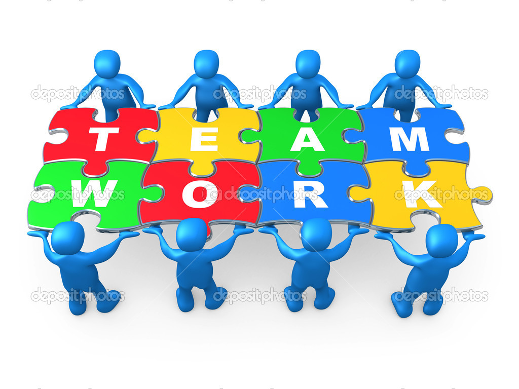 3d holding pieces of a jigsaw puzzle with the word teamwork.  Stock Photo #2368765