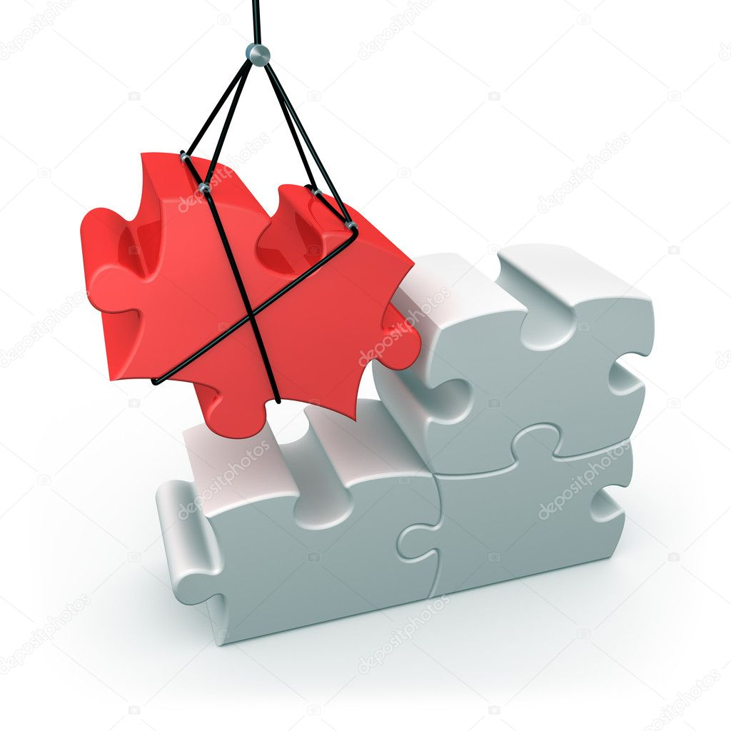 3d puzzle piece being put into place . — Stock Photo #2539372