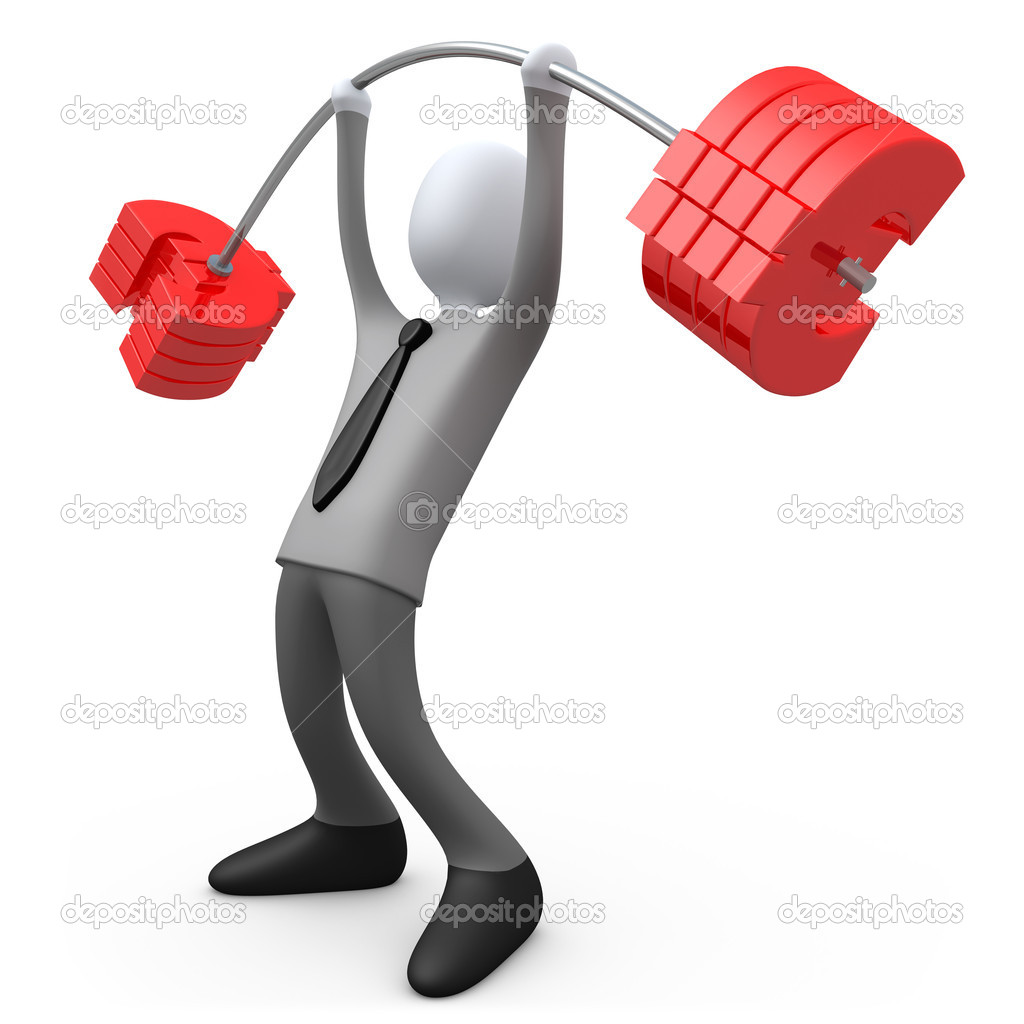 3d business person lifting euro-shaped weights . — Stock Photo #2539417