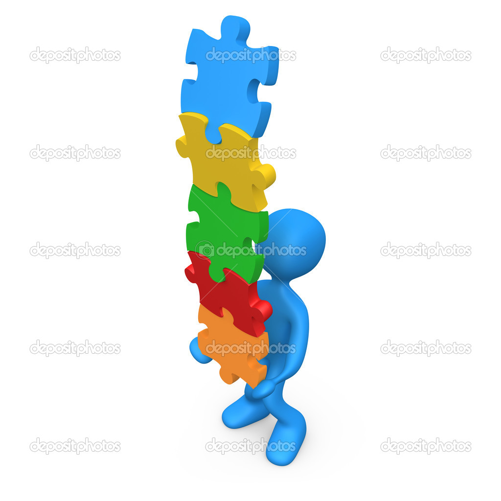 3d person trying to balance a pile of puzzle pieces. — Stock Photo #2539588