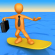 Stock Photo: Surfing Businessman